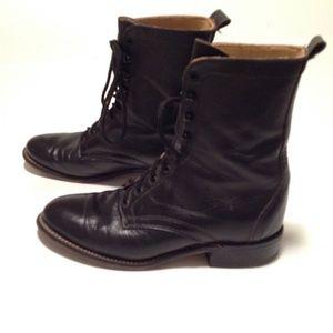 Laredo Woman's Boots Lace Up Black Size 6.5 M EUC